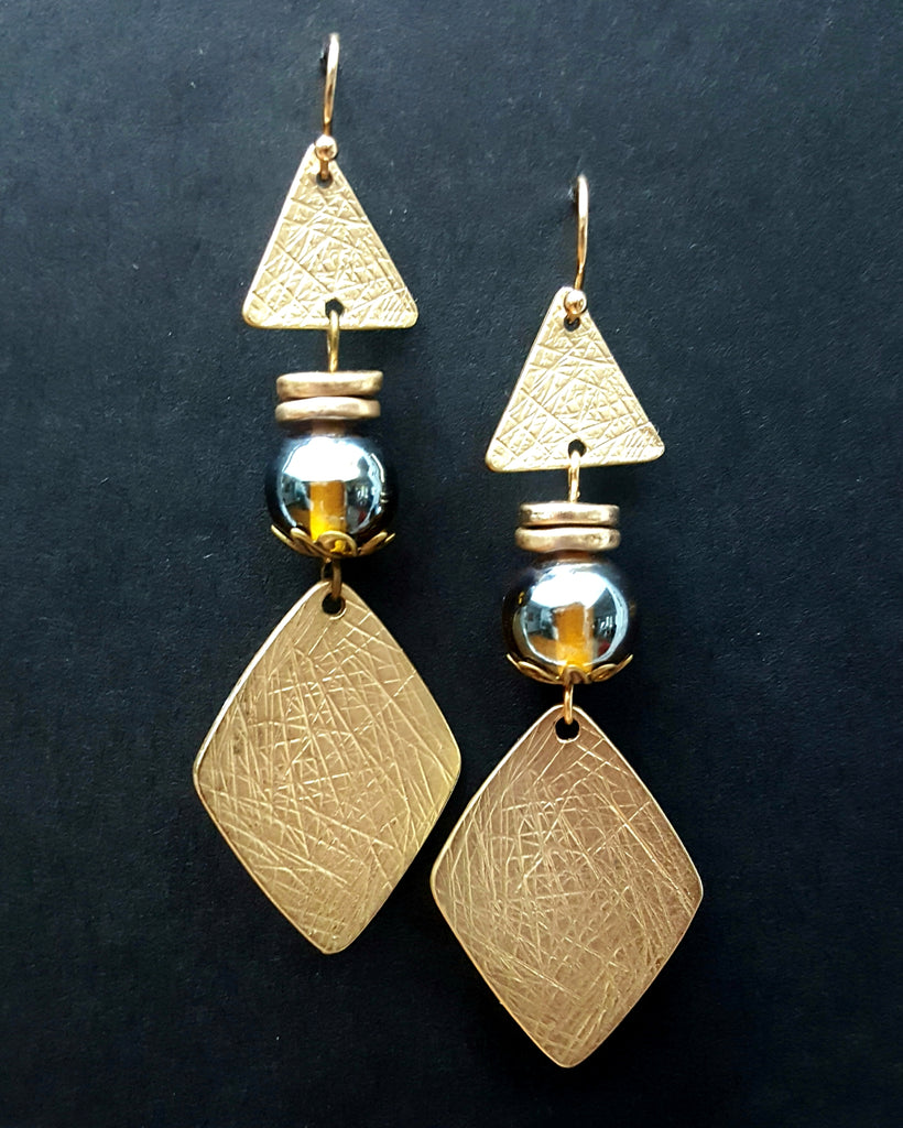 Crosshatch Patterned Triangle and Diamond Matte Gold Dangle Earrings - Lunga Vita Designs