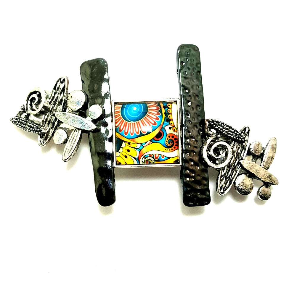 Gunmetal and Abstract Multcolored Square Hair Barrette - Lunga Vita Designs