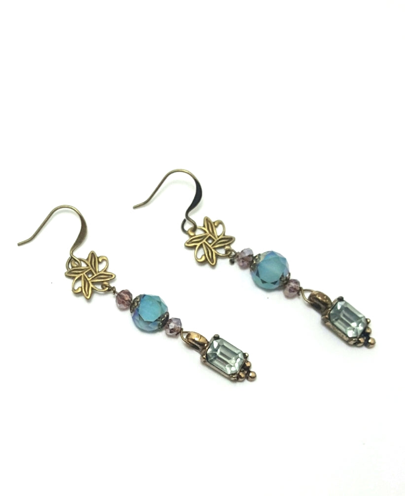 Vintage Blue Crytal and Brass Dangle Earrings - Lunga Vita Designs