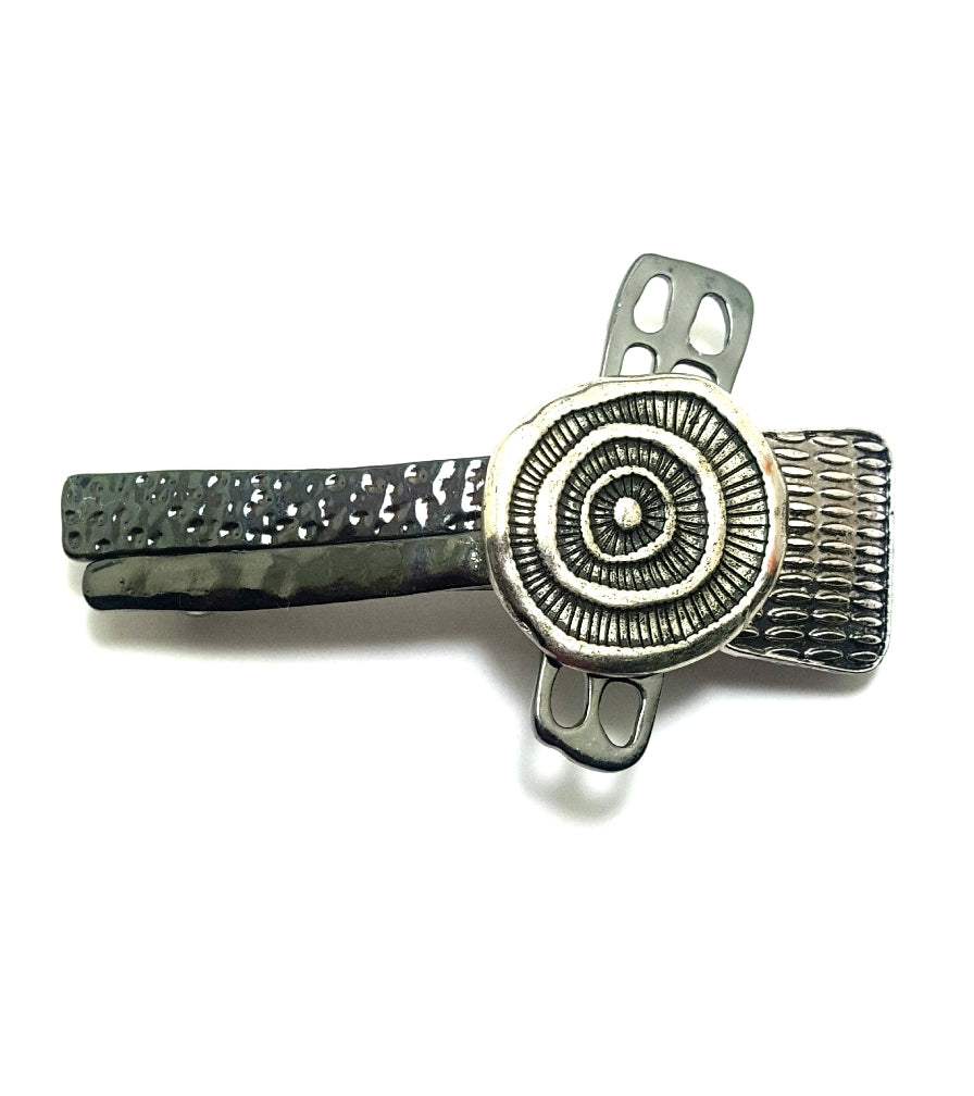Gunmetal and Worn Silver Textured Hair Barrette - Lunga Vita Designs