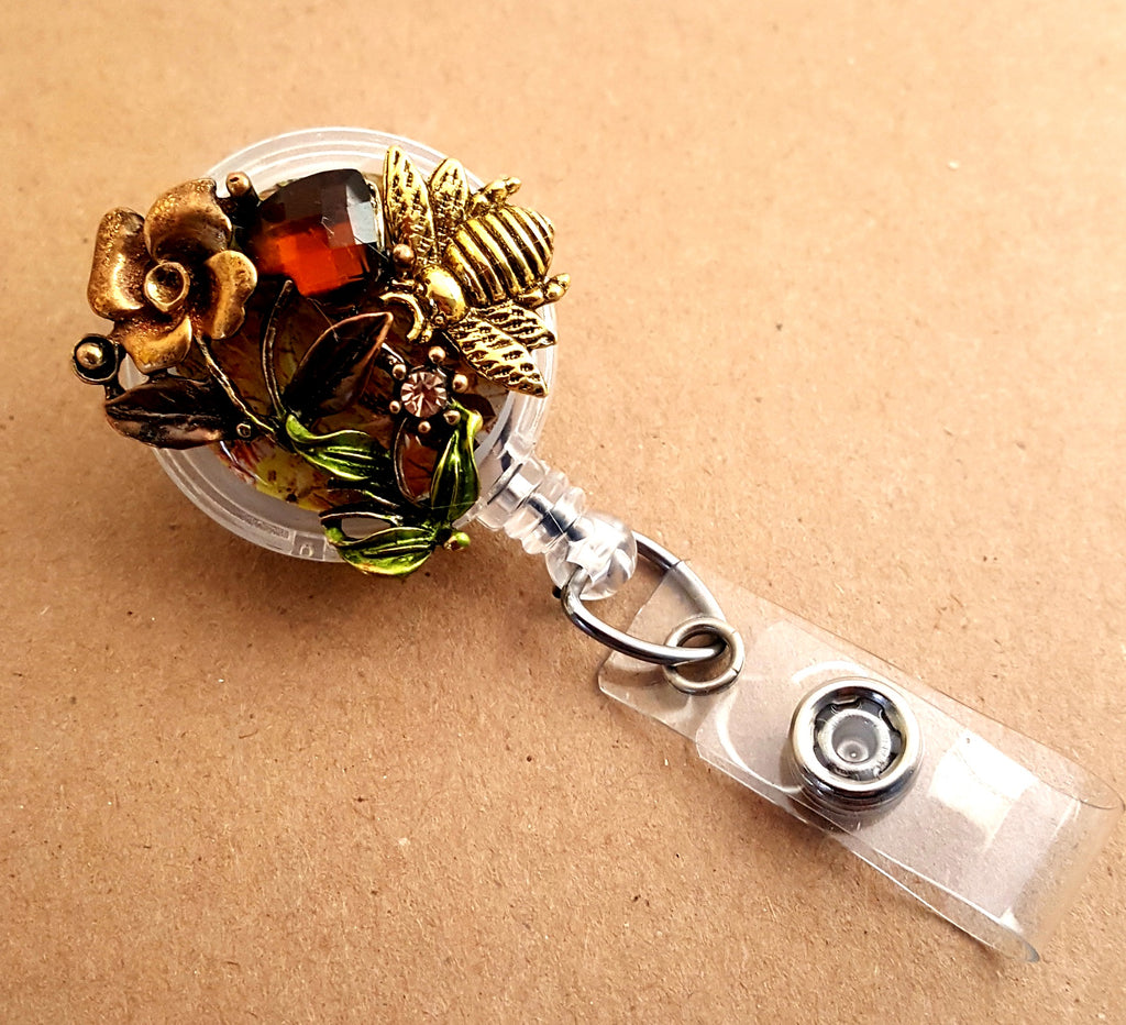Retractable Floral and Bee ID Badge Holder - Lunga Vita Designs