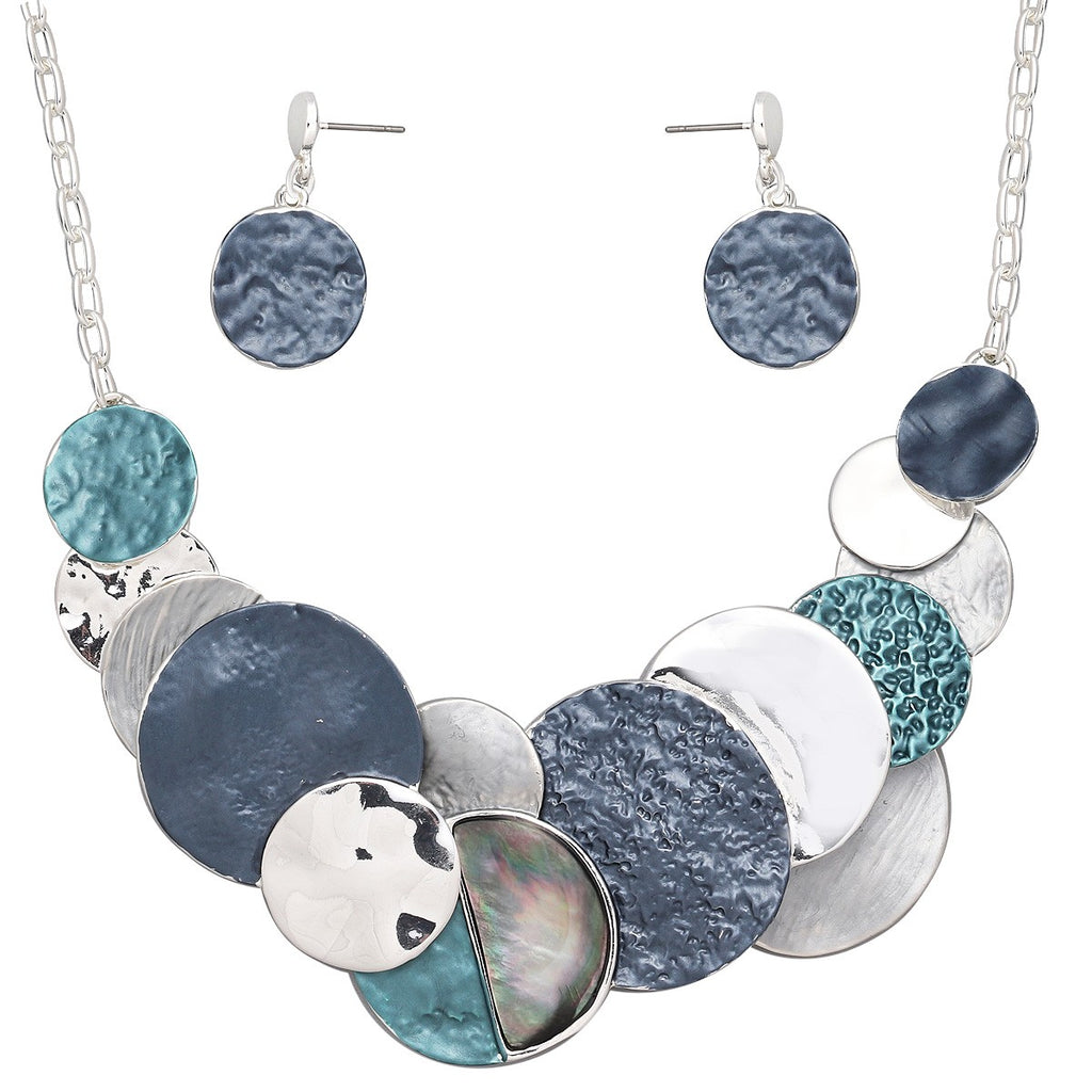 Multicolored Disk Statement Necklace Set | Silver-Blue - Lunga Vita Designs