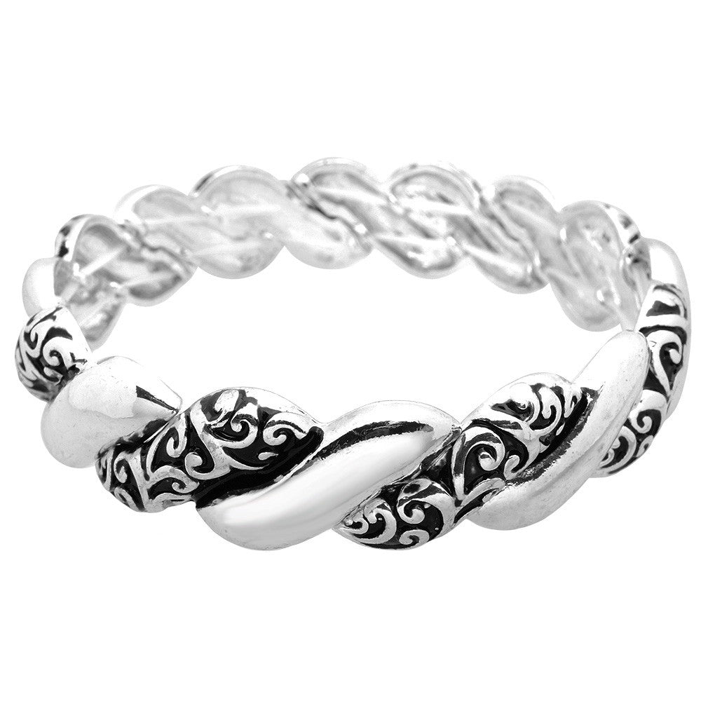 Twisted Rope Patterned Silver Stretch Bracelet - Lunga Vita Designs