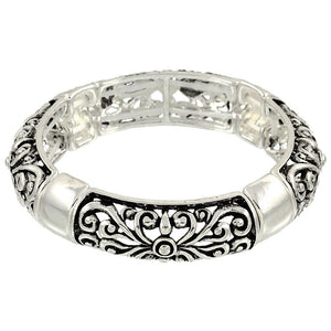 CUT-OUT SILVER STRETCH BANGLE