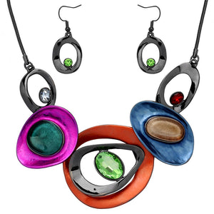 ABSTRACT RESIN AND FACETED RHINESTONE NECKLACE SET