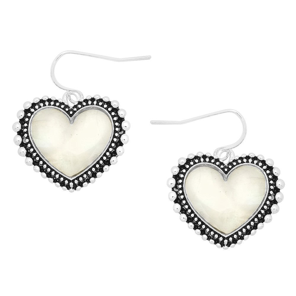 Mother of Pearl and Silver Heart Dangle Earrings - Lunga Vita Designs