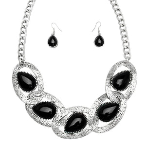 Black Side Linked Teardrop Statement Worn Silver Necklace with Matching Earrings | Set - Lunga Vita Designs