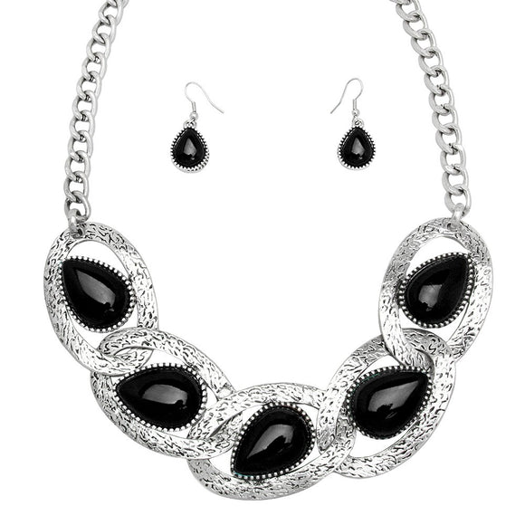 BLACK TEARDROP STATEMENT NECKLACE SET
