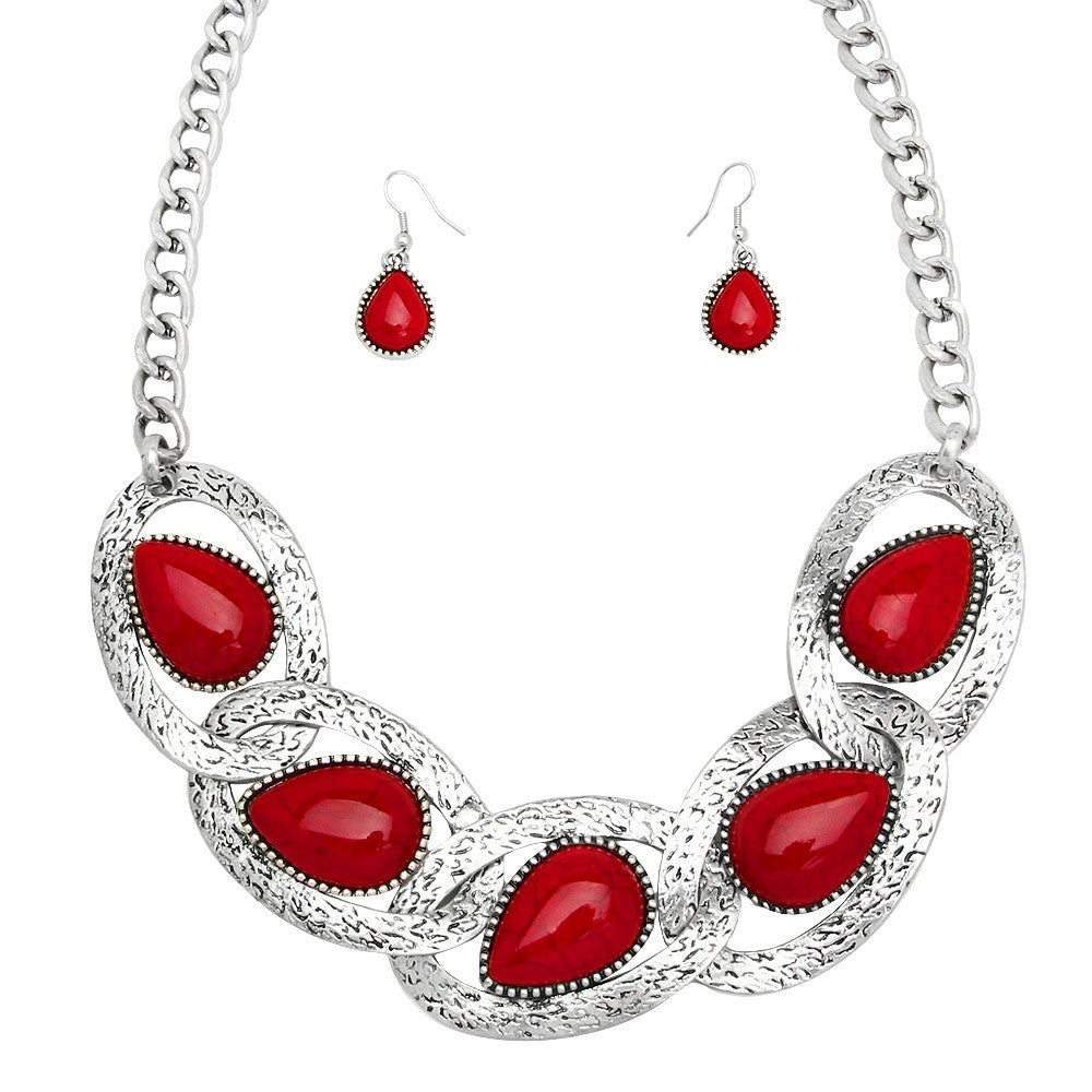 Red Teardrop Statement Necklace Set - Lunga Vita Designs