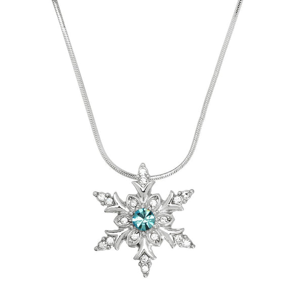 SNOWFLAKE NECKLACE | AQUA CRYSTAL