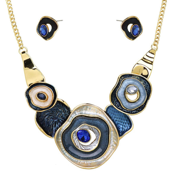 COLORFUL ENAMEL CIRCLES NECKLACE SET | BLUE