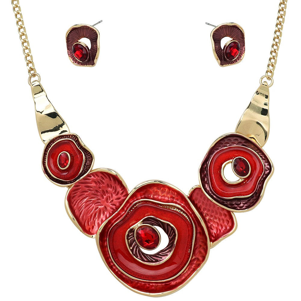 Colorful Enamel Multiple Circle Statement Necklace with Matching Earrings | Gold-Red - Lunga Vita Designs
