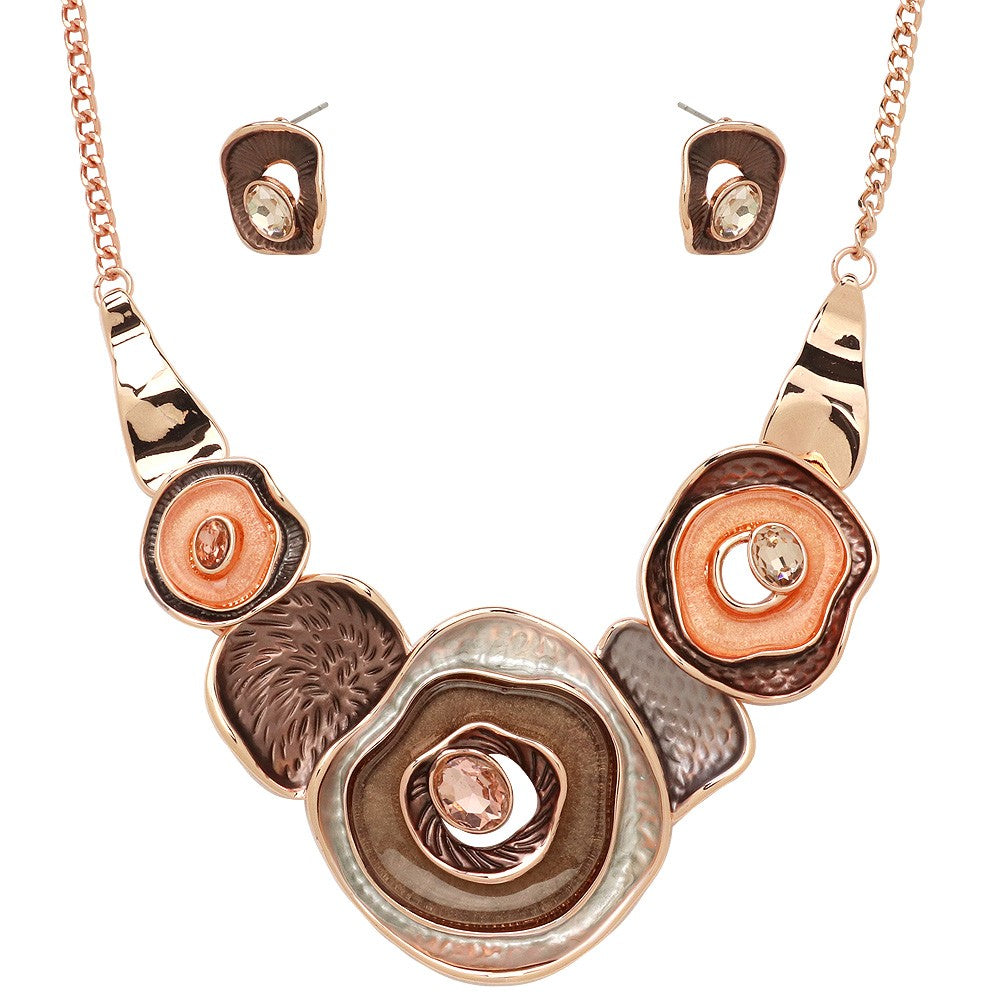 Colorful Enamel Multiple Circle Statement Necklace with Matching Earrings | Rose Gold-Cocoa - Lunga Vita Designs