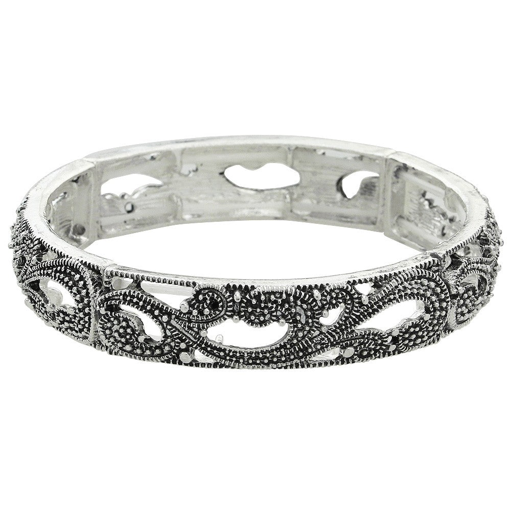 Antiqued Silver Marcasite Stretch Bangle - Lunga Vita Designs