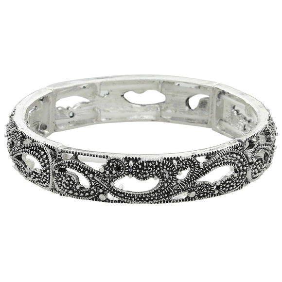 ANTIQUED SILVER MARCASITE STRETCH BANGLE