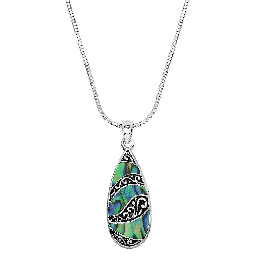 Abalone Filigree Long Teardrop Necklace - Lunga Vita Designs