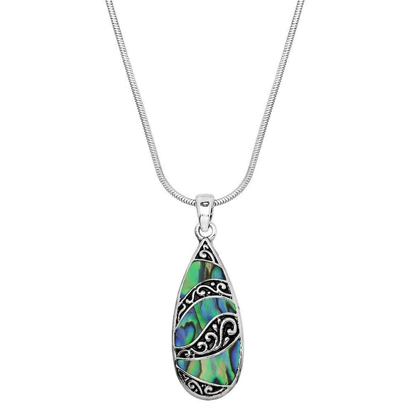 ABALONE FILIGREE LONG TEARDOP NECKLACE