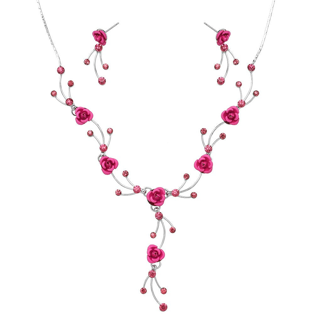 Tiny Pink Rosebud Lariat Necklace with Matching Earrings - Lunga Vita Designs