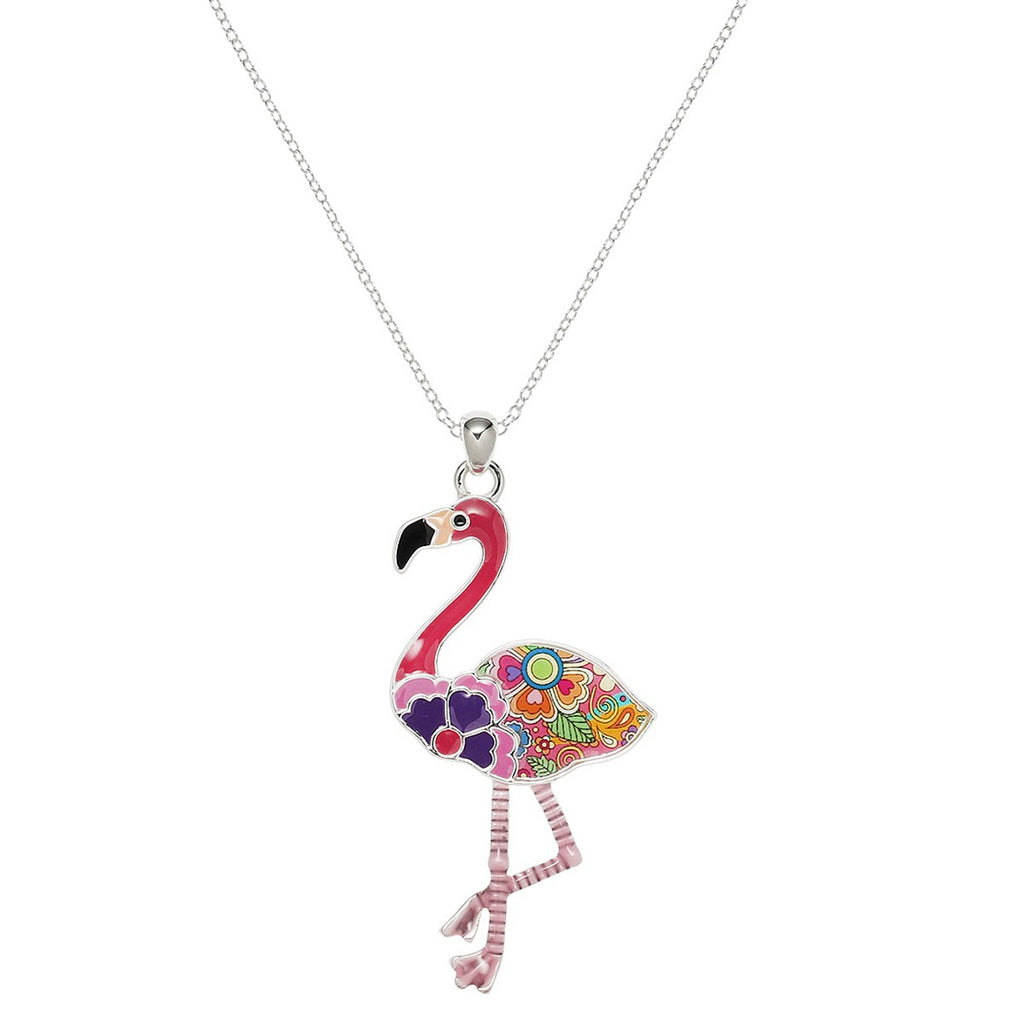 Full of Summer Pink Enamel Flamingo Necklace - Lunga Vita Designs