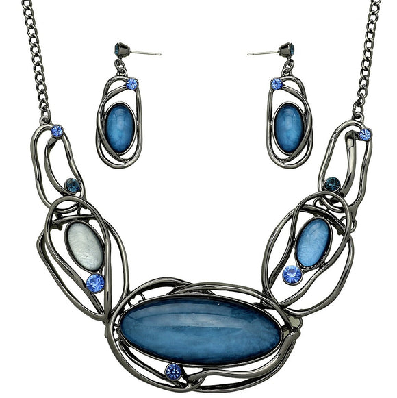 ARTISTIC RESIN OVAL STATEMENT NECKLACE SET | DEEP BLUE