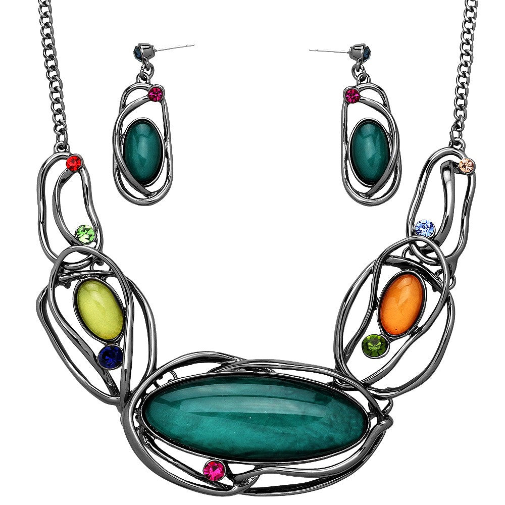 Artistic Resin Oval Statement Necklace Set| Multicolored - Lunga Vita Designs