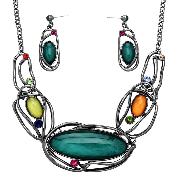 ARTISTIC RESIN OVAL STATEMENT NECKLACE SET | MUTICOLORED