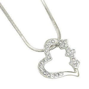 CRYSTAL TILTED HEART NECKLACE