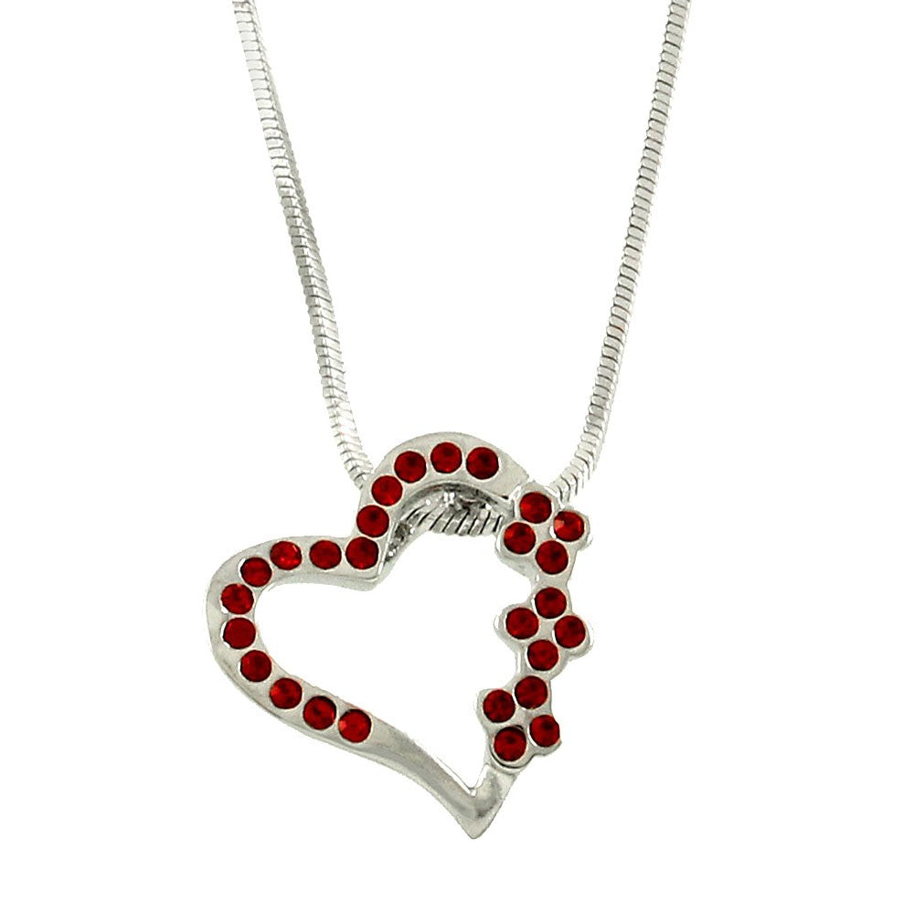Tilted Heart Necklace Featuring Red Crystals - Lunga Vita Designs