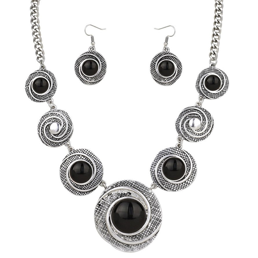 Black and Textured Silver Bold Necklace Set - Lunga Vita Designs