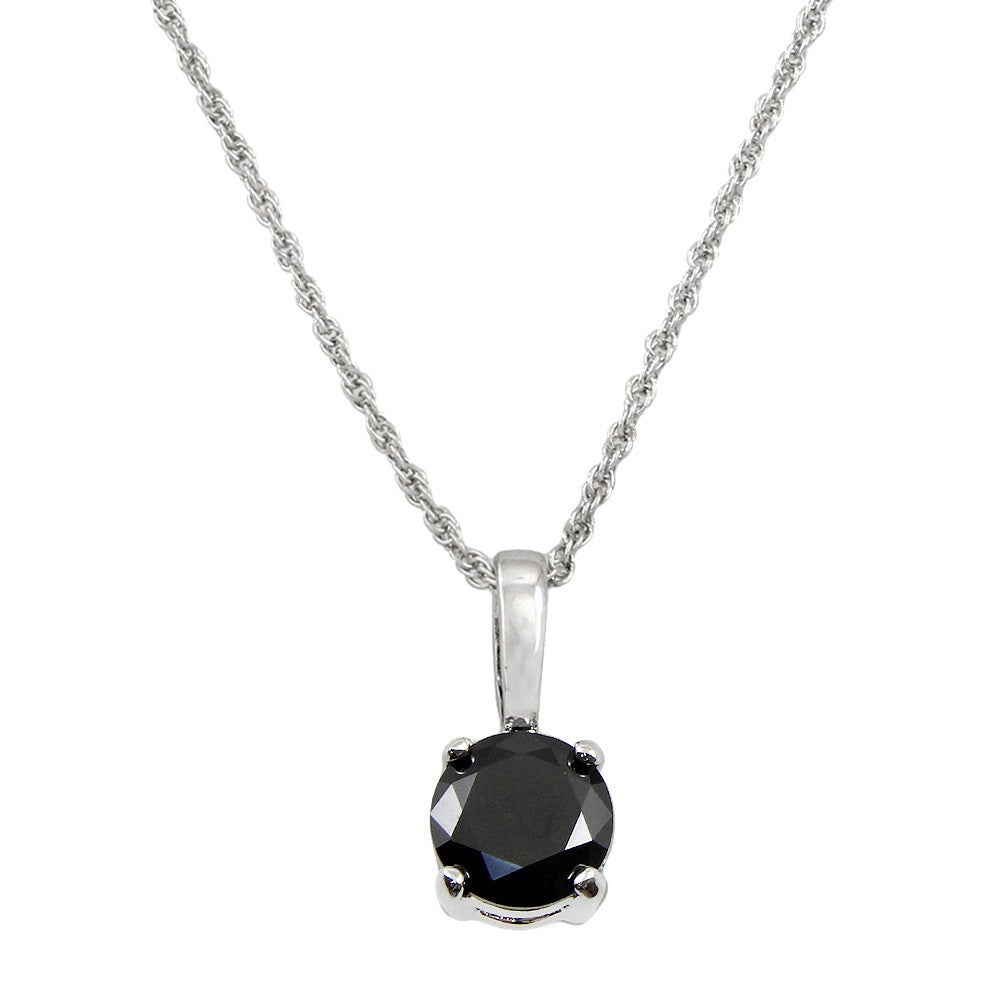 Classic Cubic Zirconia Solitaire Necklace | Black - Lunga Vita Designs