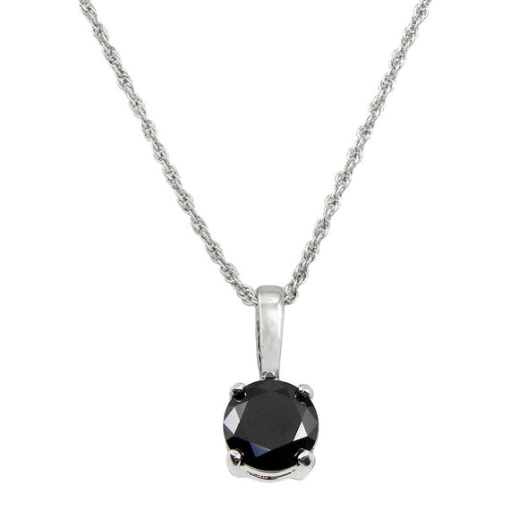 CLASSIC CUBIC ZIRCONIA SOLITAIRE NECKLACE | BLACK