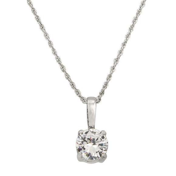 Classic Cubic Zirconia Solitaire Necklace | Clear - Lunga Vita Designs