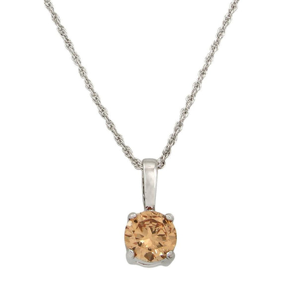 CLASSIC CUBIC ZIRCONIA SOLITAIRE NECKLACE | TOPAZ