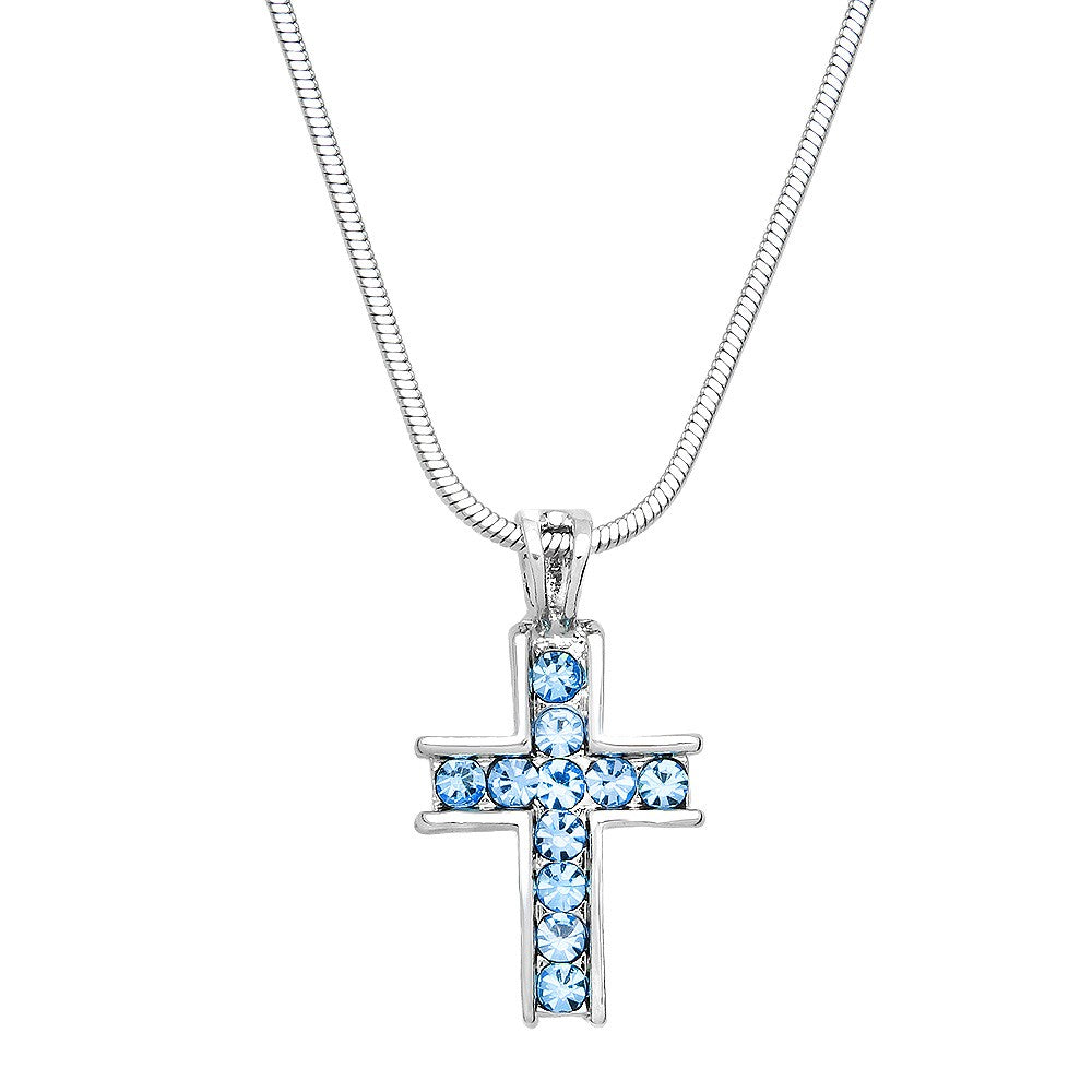 Crystal Cross Necklace | Light Sapphire - Lunga Vita Designs