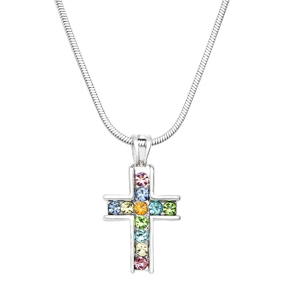 Crystal Cross Necklace | Multicolor - Lunga Vita Designs