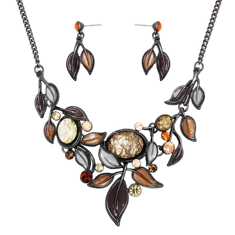 Pale Brown and Cream Floral Resin Statement Necklace Set - Lunga Vita Designs