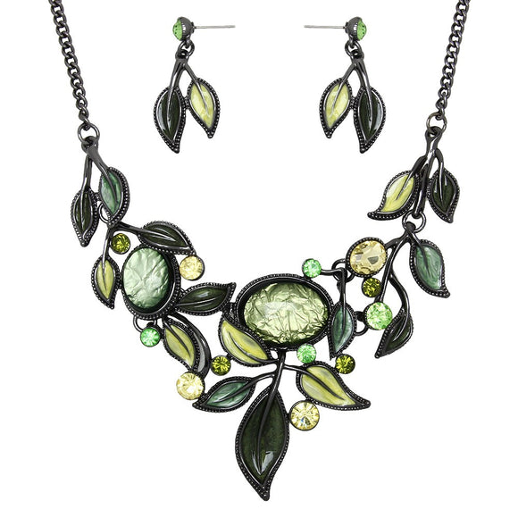 Spring Greens Resin Necklace Set - Lunga Vita Designs