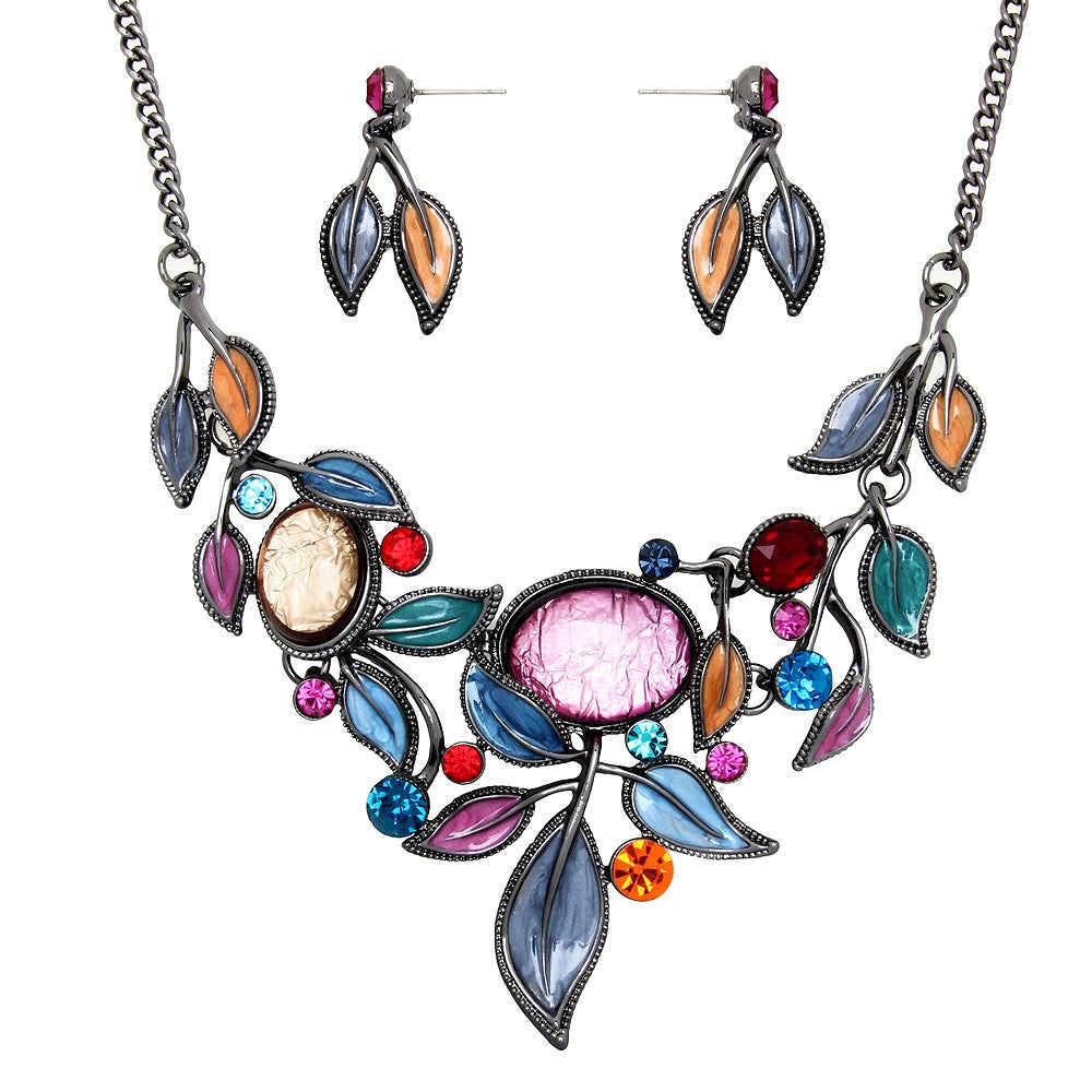 Multicolor Resin Leaves Necklace Set - Lunga Vita Designs