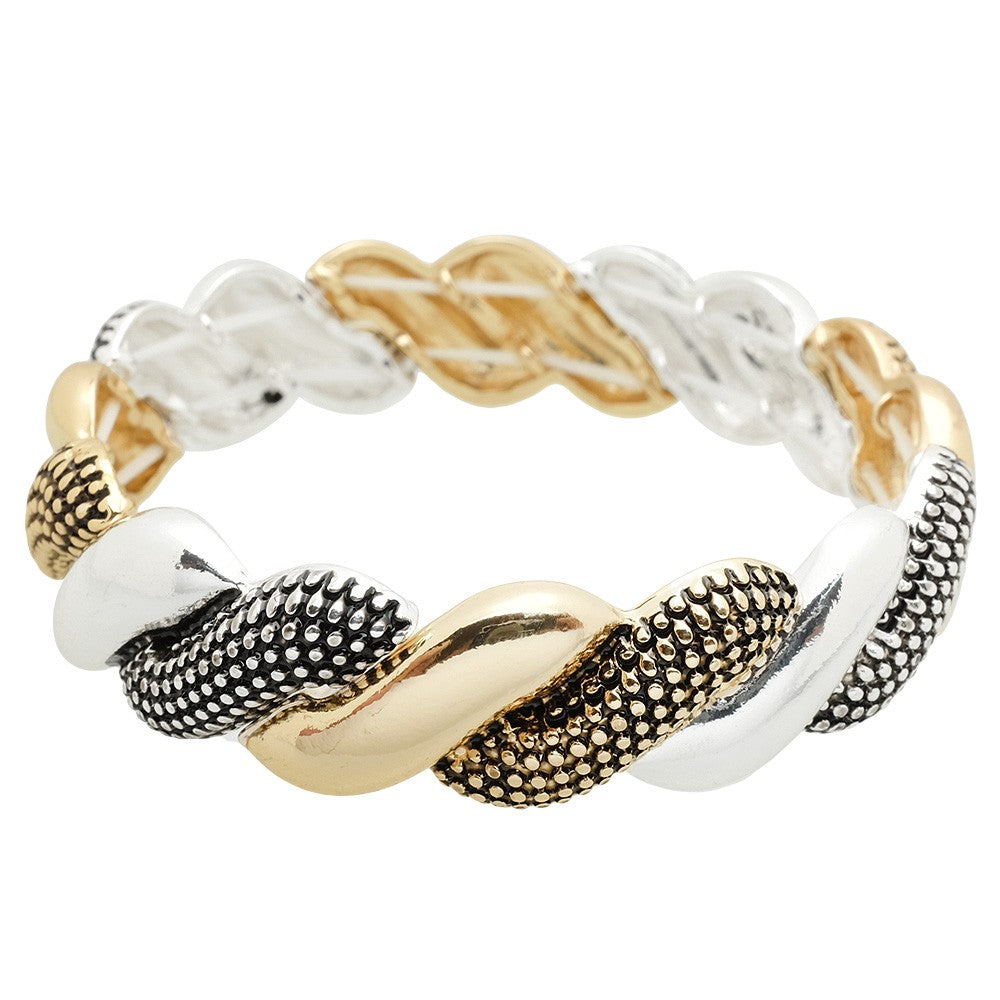 Textured Metal Rope Stretch Bracelet | Two-Tone - Lunga Vita Designs