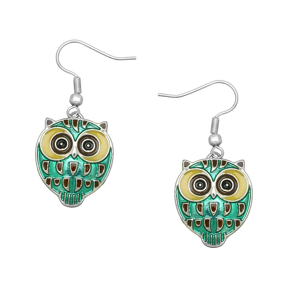 Playful Green Enamel Dangle Owl Earrings - Lunga Vita Designs