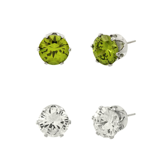 CUBIC ZIRCONIA POST EARRING DUO | CLEAR AND OLIVE