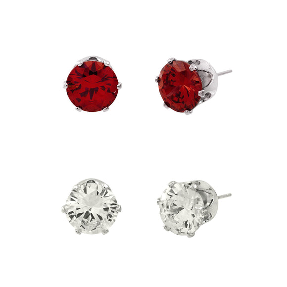 CUBIC ZIRCONIA POST EARRING DUO | CLEAR AND RED