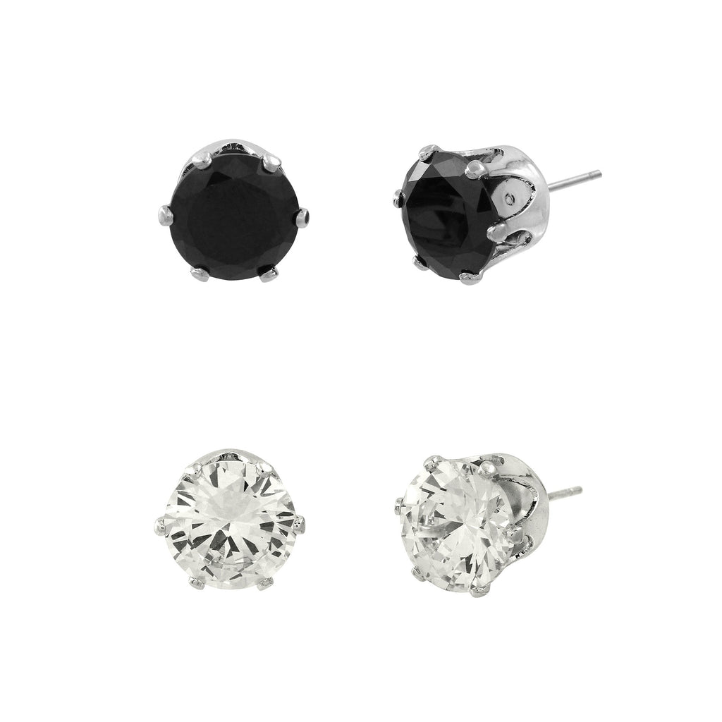 Cubic Zirconia Post Earrings Duo | Clear & Black - Lunga Vita Designs
