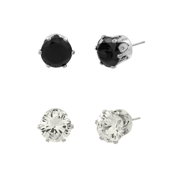 CUBIC ZIRCONIA POST EARRING DUO | CLEAR AND BLACK