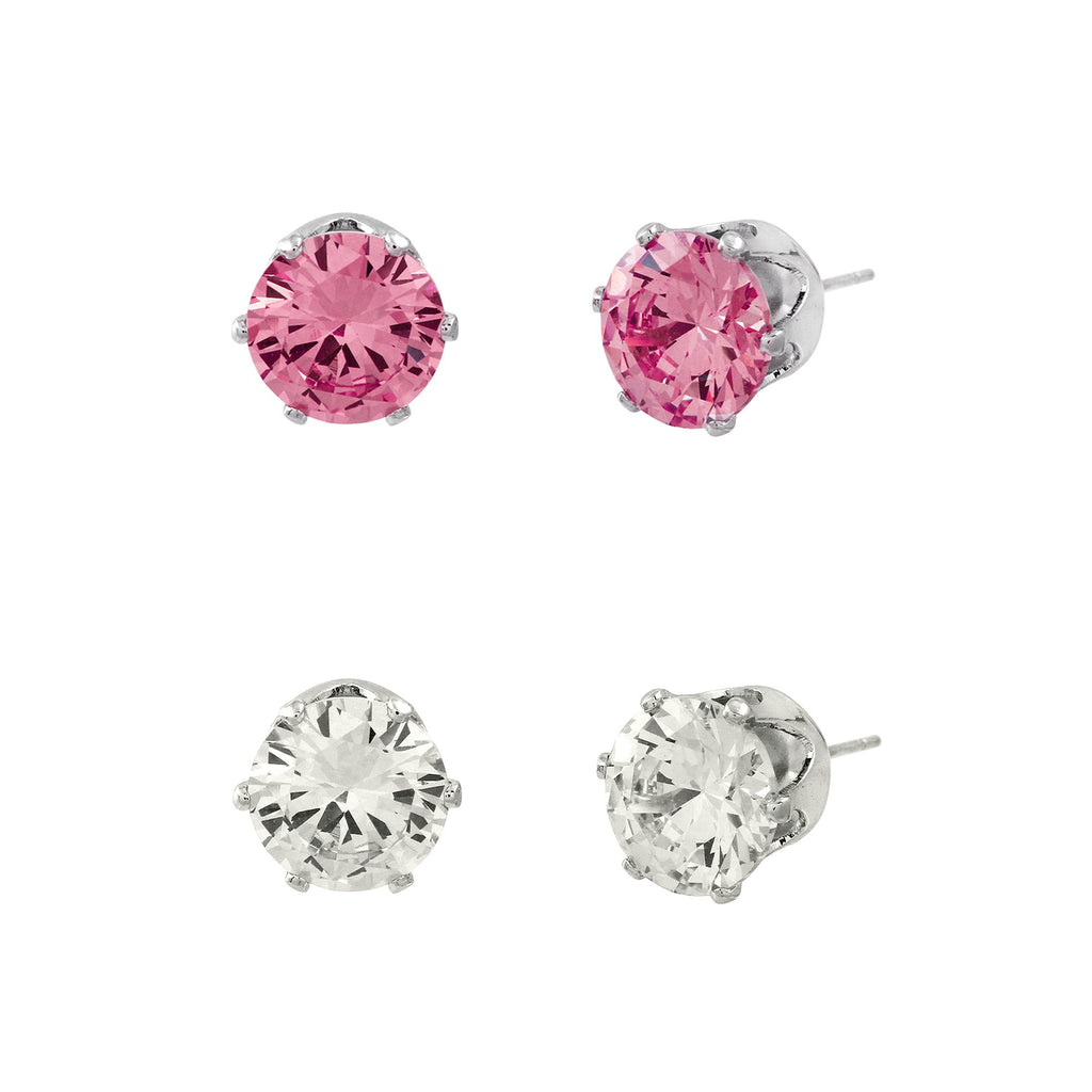 Cubic Zirconia Post Earrings Duo | Clear & Pink - Lunga Vita Designs