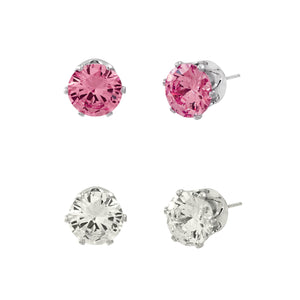 CUBIC ZIRCONIA POST EARRING DUO | CLEAR AND PINK