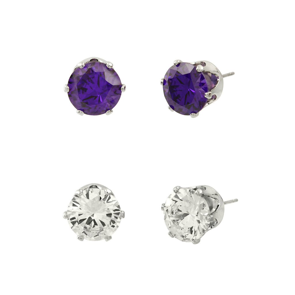Cubic Zirconia Post Earrings Duo | Clear & Purple - Lunga Vita Designs
