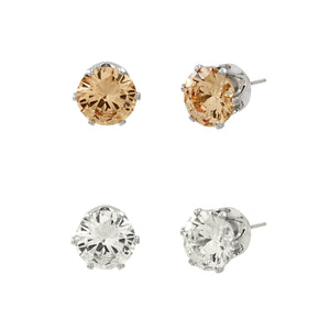 CUBIC ZIRCONIA POST EARRING DUO | CLEAR AND TOPAZ