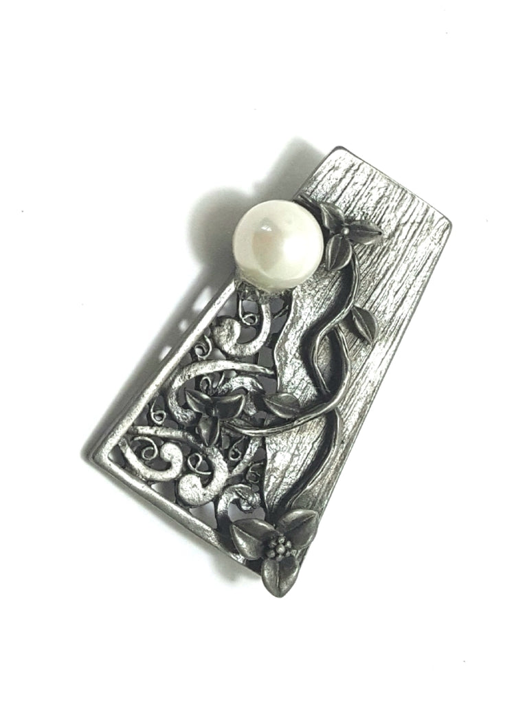 Antiqued Silver Floral Brooch-Pendant with Pearl - Lunga Vita Designs