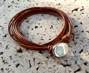Four Strand Leather Wrap Bracelet with Silver Button | Light Brown - Lunga Vita Designs